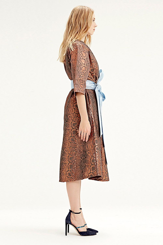 MIZALLE فستان قماش جاكار(لون قرميدي) (1)