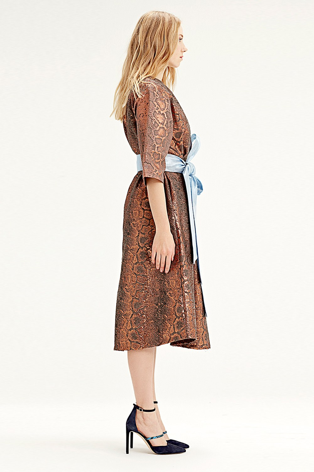 MIZALLE Jacquard Dress (Brick Red) (1)
