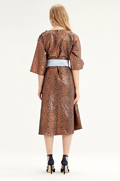 Jacquard Dress (Brick Red) - Thumbnail