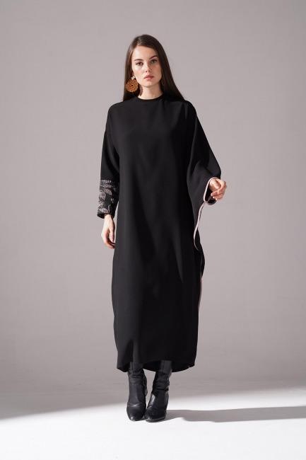 Mizalle - Jakarlı Ferace Bej Elbise