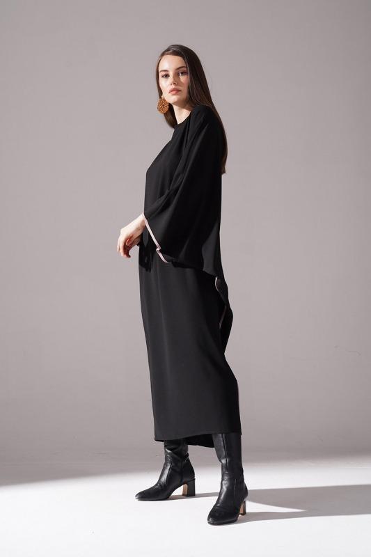 Jakarlı Ferace Elbise (Bej)