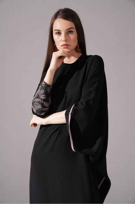 Jakarlı Ferace Elbise (Bej) - Thumbnail