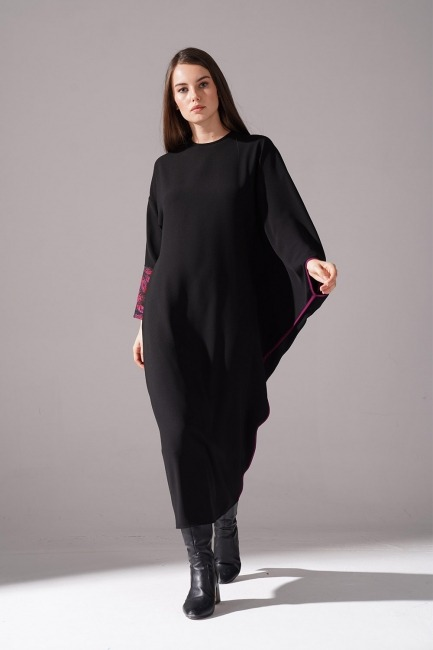 Mizalle - Jakarlı Ferace Bordo Elbise