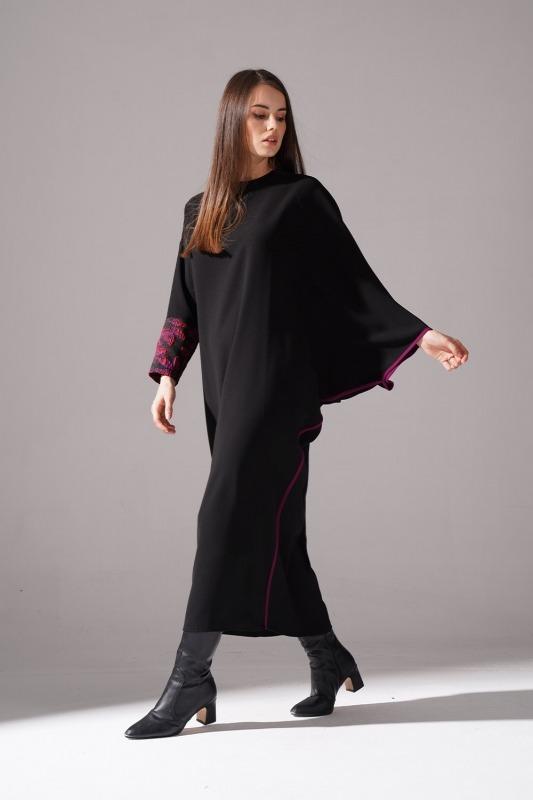 Jakarlı Ferace Bordo Elbise