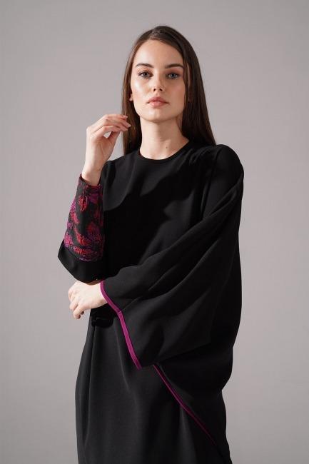 Jakarlı Ferace Bordo Elbise - Thumbnail