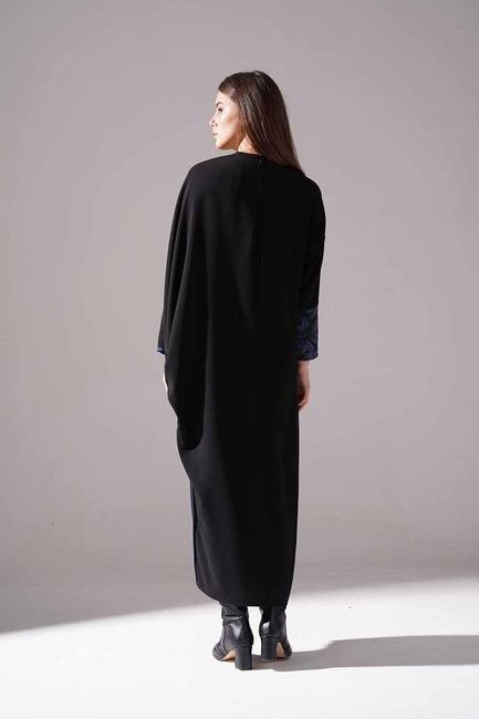Jakarlı Ferace Elbise (İndigo) - Thumbnail