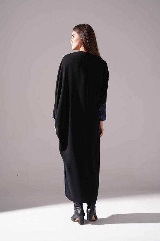 Jakarlı Ferace Elbise (İndigo)