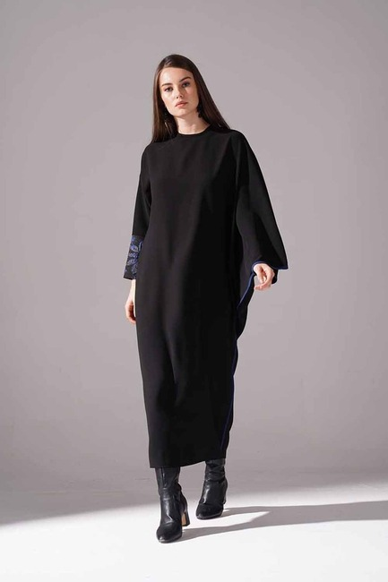 Mizalle - Jakarlı Ferace Elbise (İndigo)