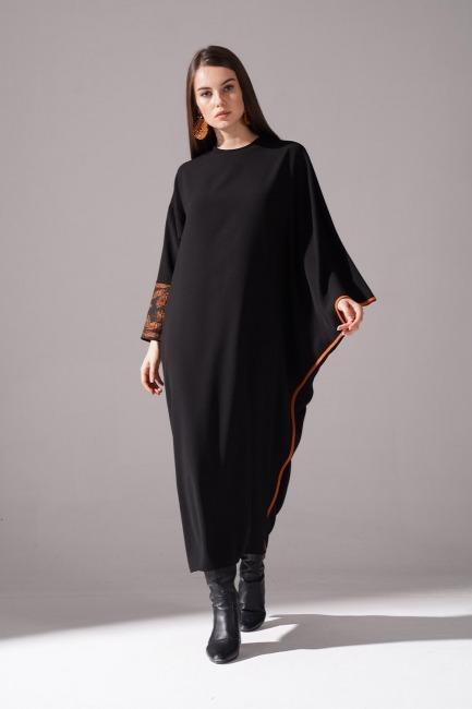 Mizalle - Jakarlı Ferace Kiremit Elbise