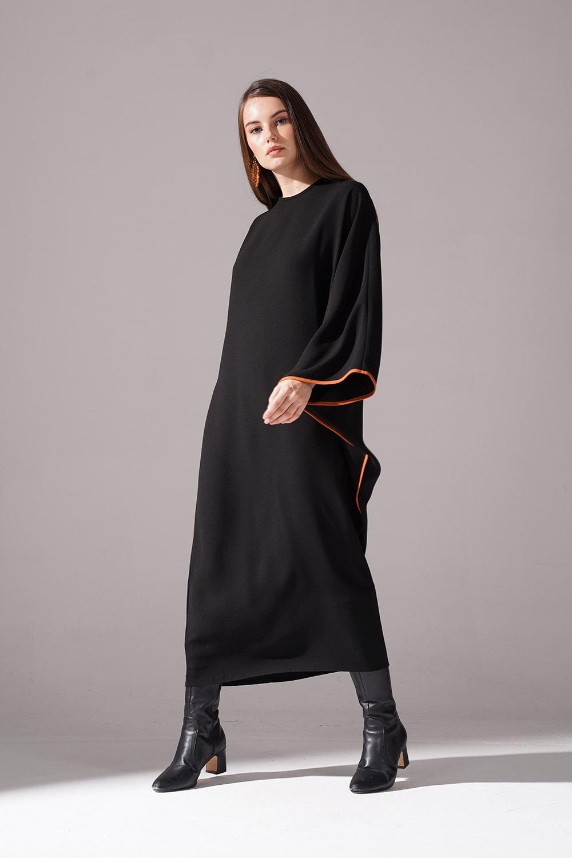 Jakarlı Ferace Kiremit Elbise