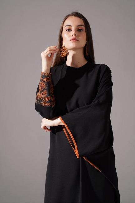 Jakarlı Ferace Kiremit Elbise - Thumbnail