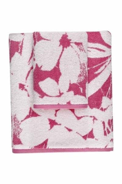منشفة جاكار حمام (100X150) (وردي) - Thumbnail