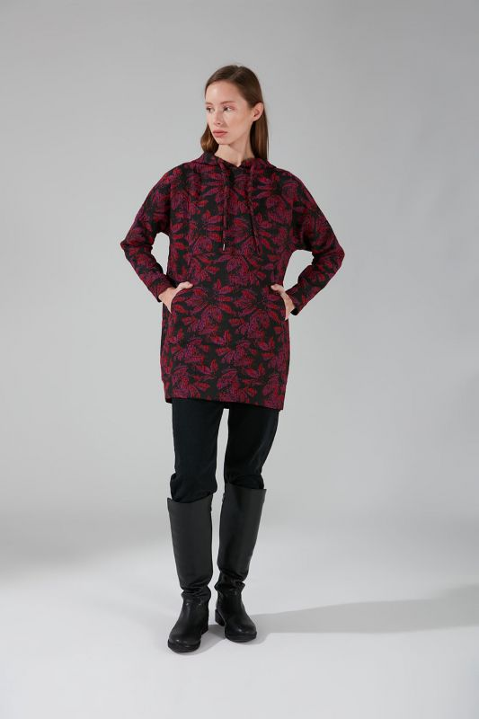 Jakarlı Sweatshirt (Fuşya)