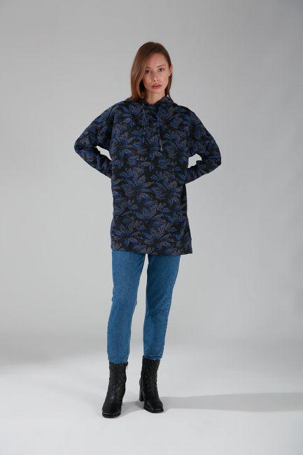 Mizalle - Jakarlı Sweatshirt (Saks)