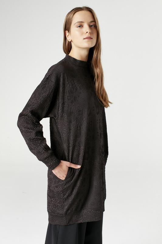 Jakarlı Sweatshirt (Siyah)