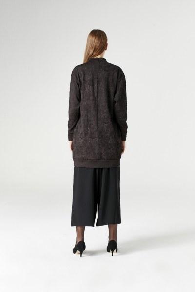 Jakarlı Sweatshirt (Siyah) - Thumbnail