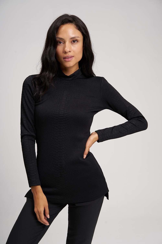 MIZALLE Jacquard Tunic (Black) (1)