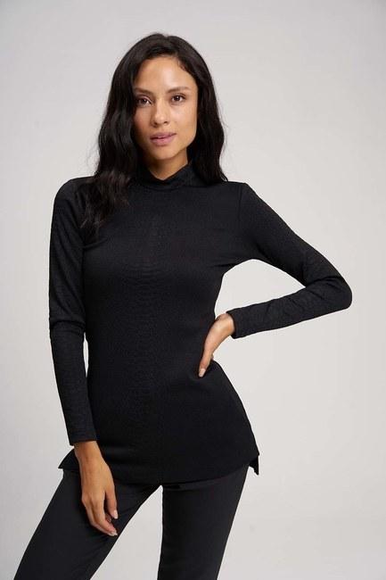 MIZALLE - Jacquard Tunic (Black) (1)