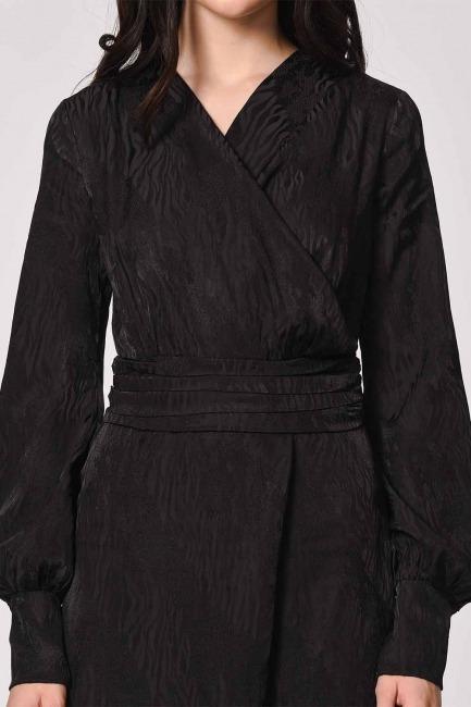 MIZALLE - جاكار نمط مساء اللباس وزرة (أسود) (1)