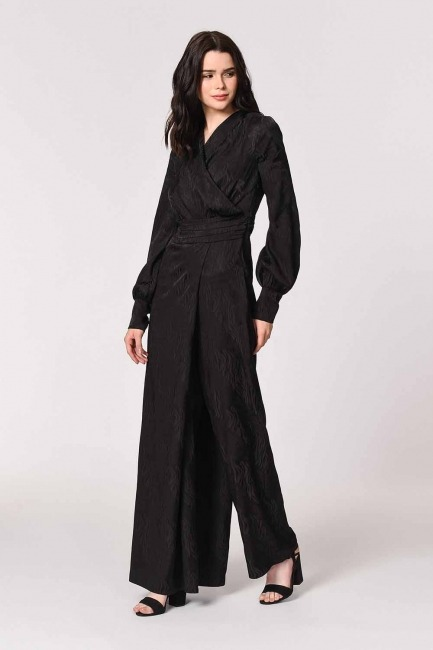 Jacquard Patterned Evening Dress-Jumpsuit (Black) - Thumbnail