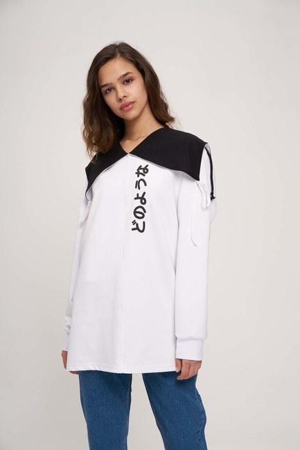 Japon Baskılı Sweatshirt (Beyaz) - Thumbnail