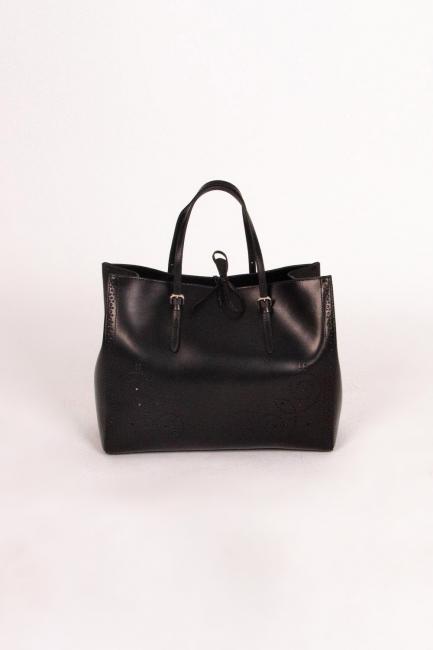 Mizalle - Kabartma Desenli Kol Çantası (Siyah)