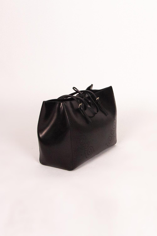 Kabartma Desenli Kol Çantası (Siyah)