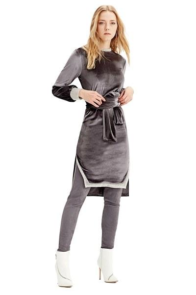 Kadife Elbise Tunik (Gri) - Thumbnail