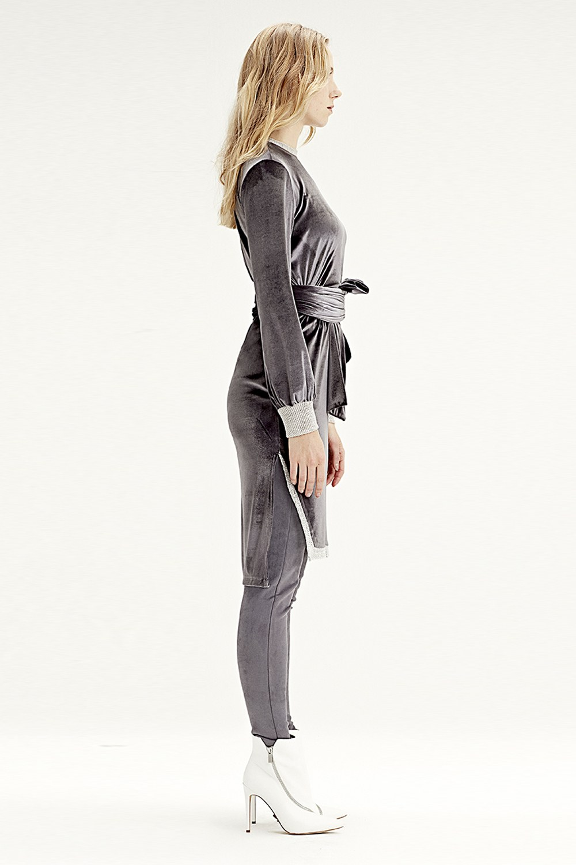 MIZALLE Kadife Elbise Tunik (Gri) (1)