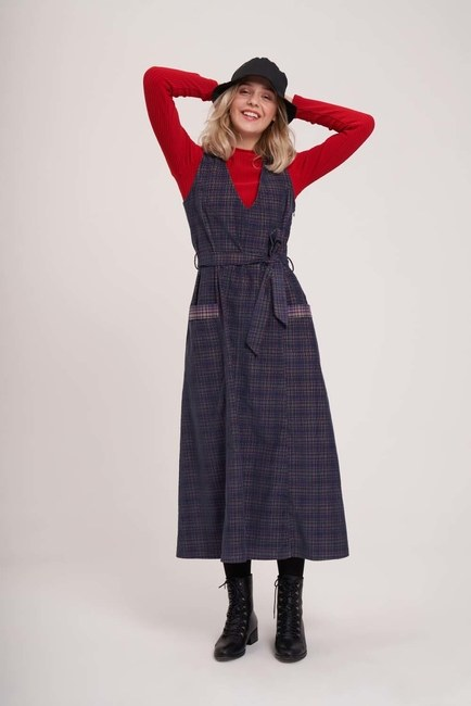 MIZALLE YOUTH - Kadife Kaplamalı Ekose Jile Elbise (Antrasit) (1)