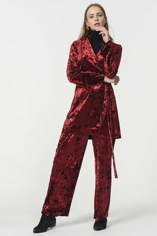 MIZALLE Velvet Kimono (Claret Red) (1)