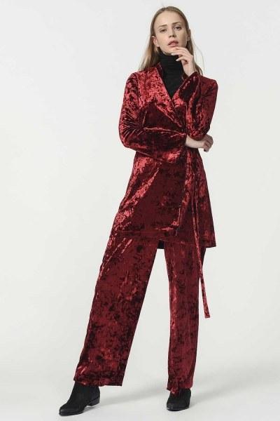 MIZALLE - Kadife Kimono (Bordo) (1)