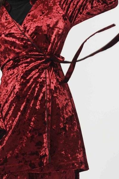 Kadife Kimono (Bordo) - Thumbnail