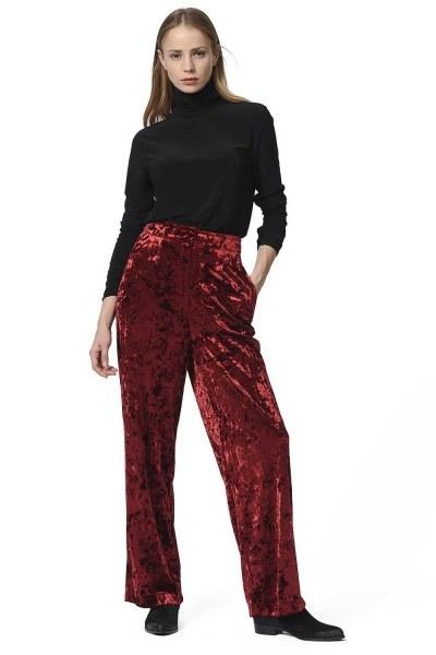 MIZALLE Velvet Trousers (Claret Red)