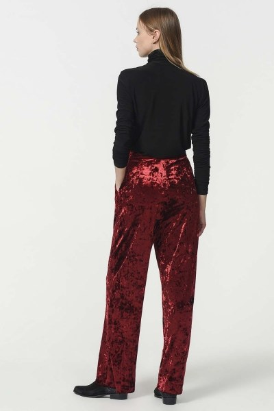 Velvet Trousers (Claret Red) - Thumbnail