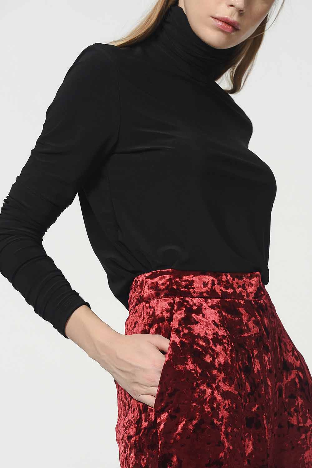 MIZALLE Velvet Trousers (Claret Red) (1)