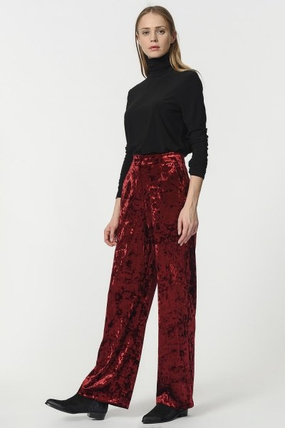 MIZALLE - Velvet Trousers (Claret Red) (1)