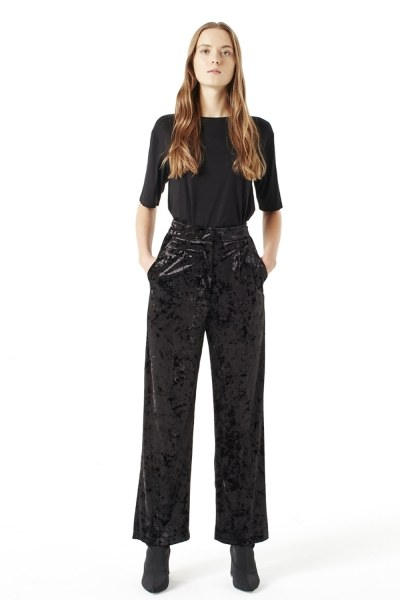 MIZALLE Velvet Trousers (Black)