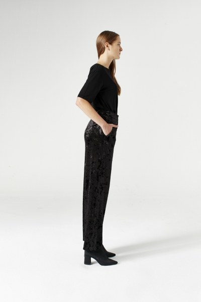 MIZALLE - Velvet Trousers (Black) (1)