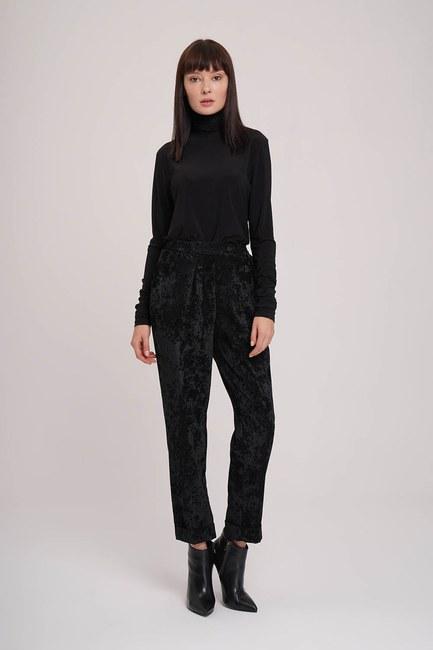 Mizalle - Kadife Tasarım Pantolon (Siyah)