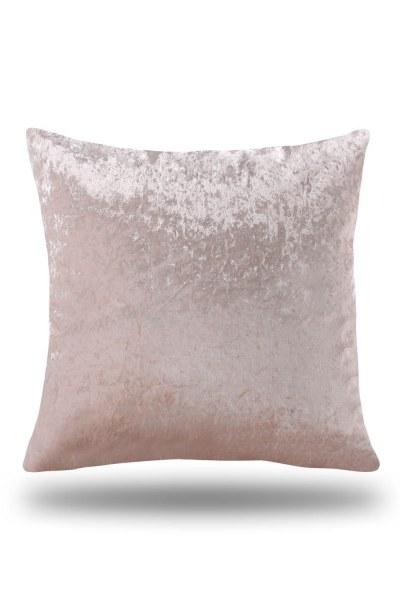 غطاء وسادة مخملي بلون وردي (35X60) - Thumbnail