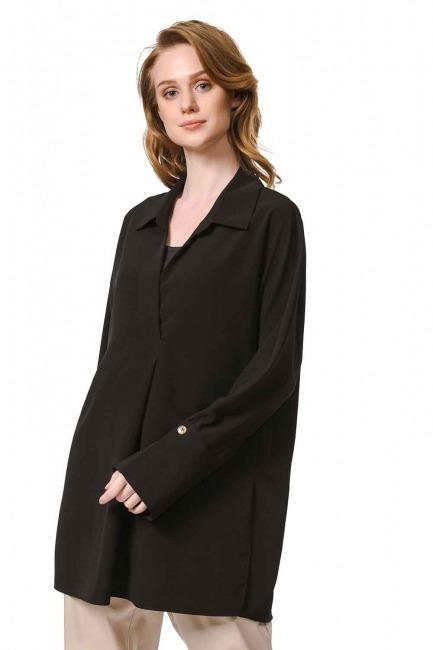 MIZALLE Kalın Patlı Lüks Bluz (Siyah)