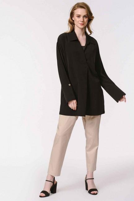 MIZALLE - Kalın Patlı Lüks Bluz (Siyah) (1)