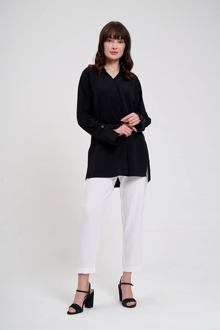 Mizalle - Kalın Patlı Lüks Bluz (Siyah)