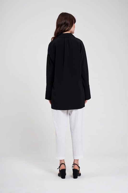 Kalın Patlı Lüks Bluz (Siyah)
