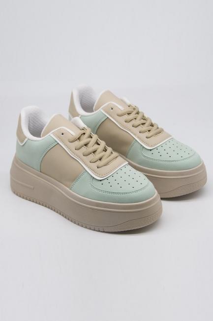 Mizalle - Kalın Taban Bağcıklı Spor Ayakkabı (Yeşil-Bej)