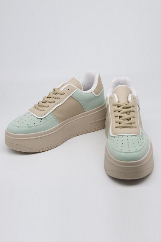 Kalın Taban Bağcıklı Spor Ayakkabı (Yeşil-Bej)