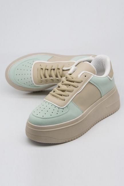 Kalın Taban Bağcıklı Spor Ayakkabı (Yeşil-Bej) - Thumbnail