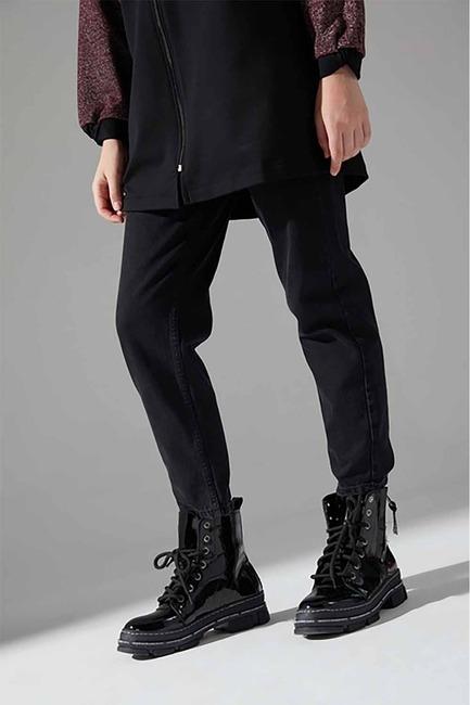 Mizalle - Kalın Topuk Rugan Bot (Siyah)