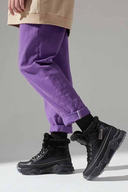 Mizalle - Kalın Topuk Tüylü Bot (Siyah)